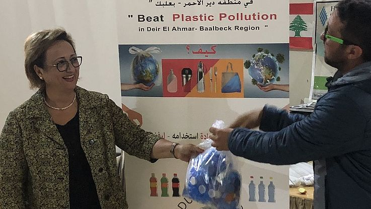Collecting plastic with Dunia Khoury, Director of WADA